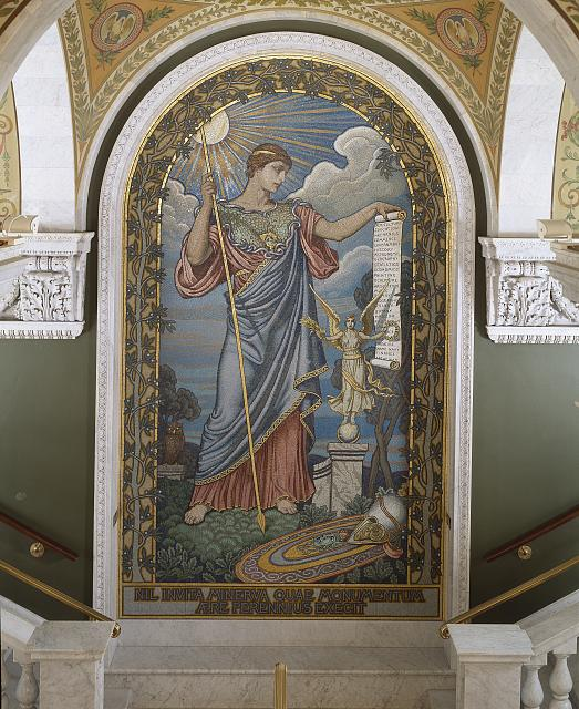 Mosaic of the goddess Minerva at the Library of Congress
