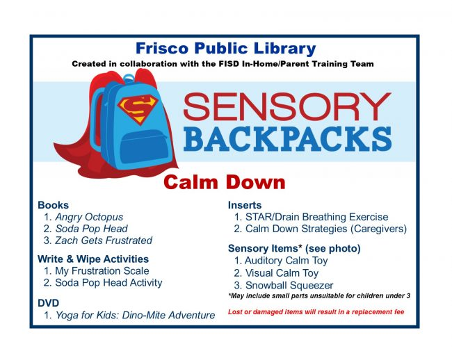 Contents page for Calm Down Backpack