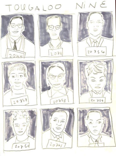 Tougaloo Nine portraits of mug shots