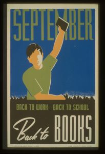 WPA poster, boy holding up a book