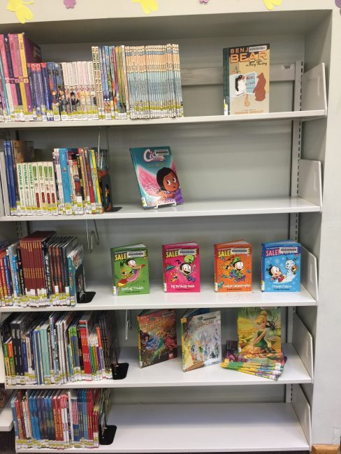 Book displays using traditional shelving units