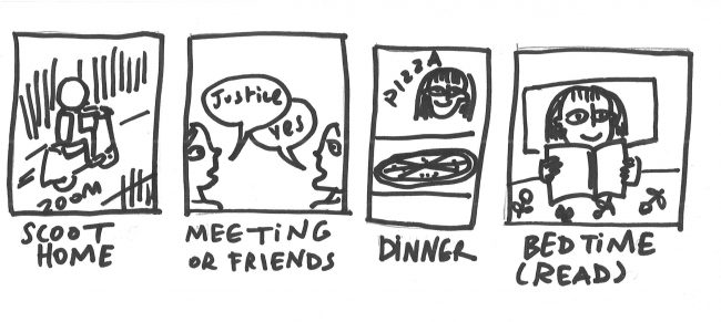 Scoot home, meetings or friends, dinner, bedtime (read)