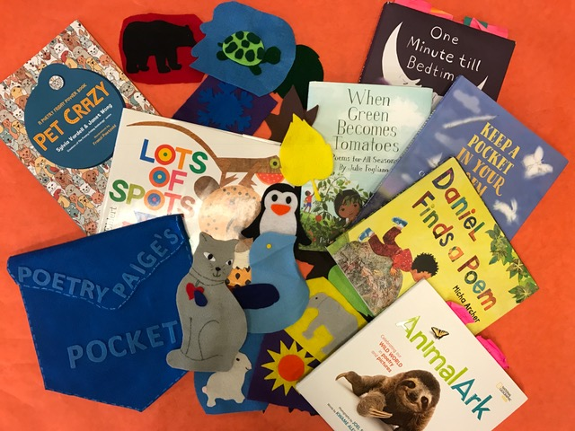 collage of book covers and felt animals