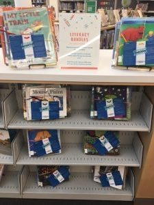 Shelve display of literacy bundles