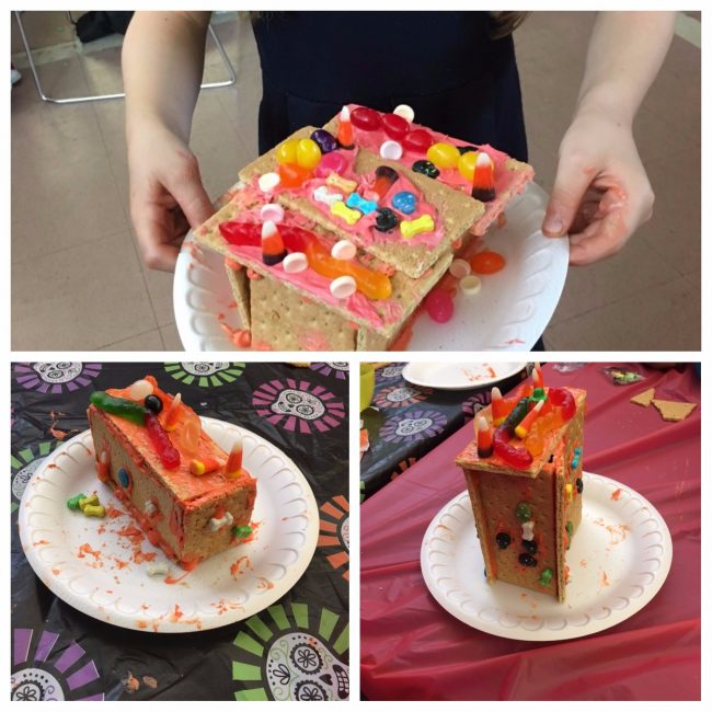 a photo collage of three images, consisting of pictures of graham crackers covered in orange frosting and candy.