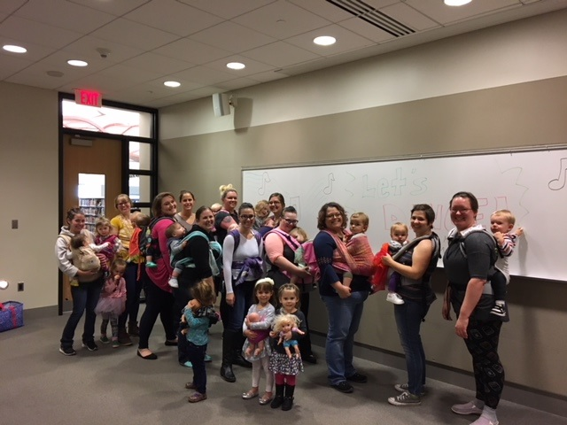 A group of participants at the BabyWearing Dance Party