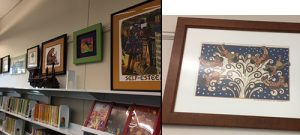 Framed art along the children's room wall and close up of one framed piece