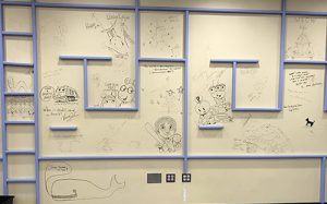 Illustrations on library wall