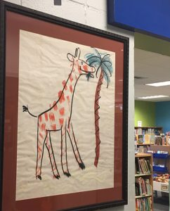 HA Rey original drawing of a giraffe and palm tree