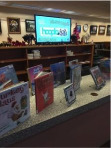 circulation desk holiday display
