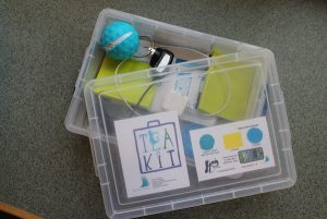 TEA Kit with plastic box, sphero, charger, ramp, and instructions