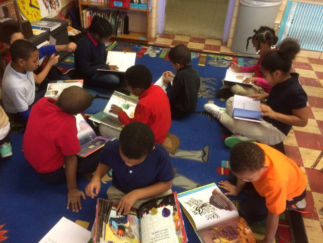 Second Grade class preparing for Mock Caldecott program