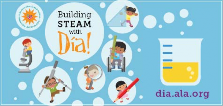 """The Dia de los Ninos Web Badge features this year's theme """"Building STEAM with Dia!"""""""