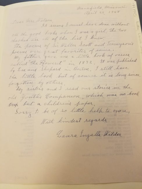 Laura Ingalls Wilder's cover letter