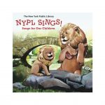 NYPL Sings: Songs for Our Children. Daddy lion playing ukulele to baby lion sitting on rocks