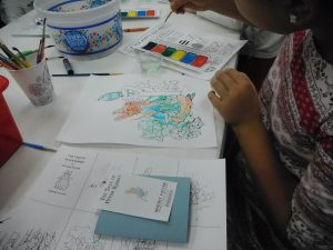 a close-up of a children's artwork at an artworkshop of the Athens Clarke County Library