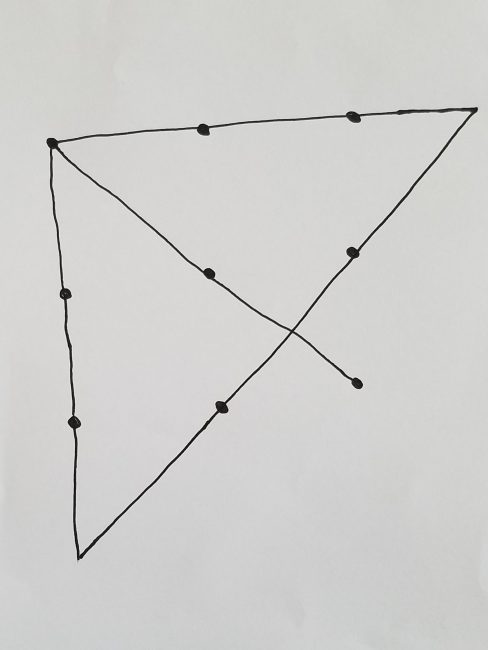 solution to nine dots, four lines problem
