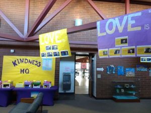 """Love is…"" banners lined the hallways as part of our school-wide kindness campaign."