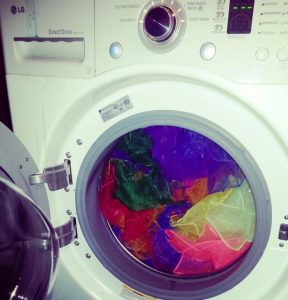 Scarves in a washing machine. [Photo courtesy of the author.]