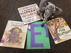 Books and props used for an elephant storytime