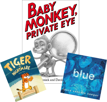 Image of Baby Monke;y, Private Eye; Tiger vs. Nightmare; and Blue