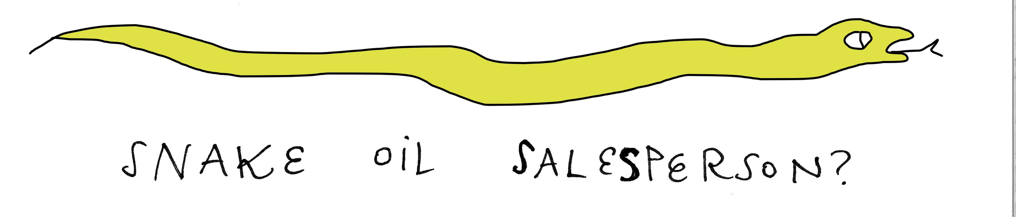 """Snake Oil Salesperson?"" graphic"