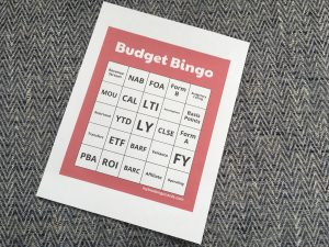 """A """"Budget Bingo"""" card for use when you want to learn more about money"""