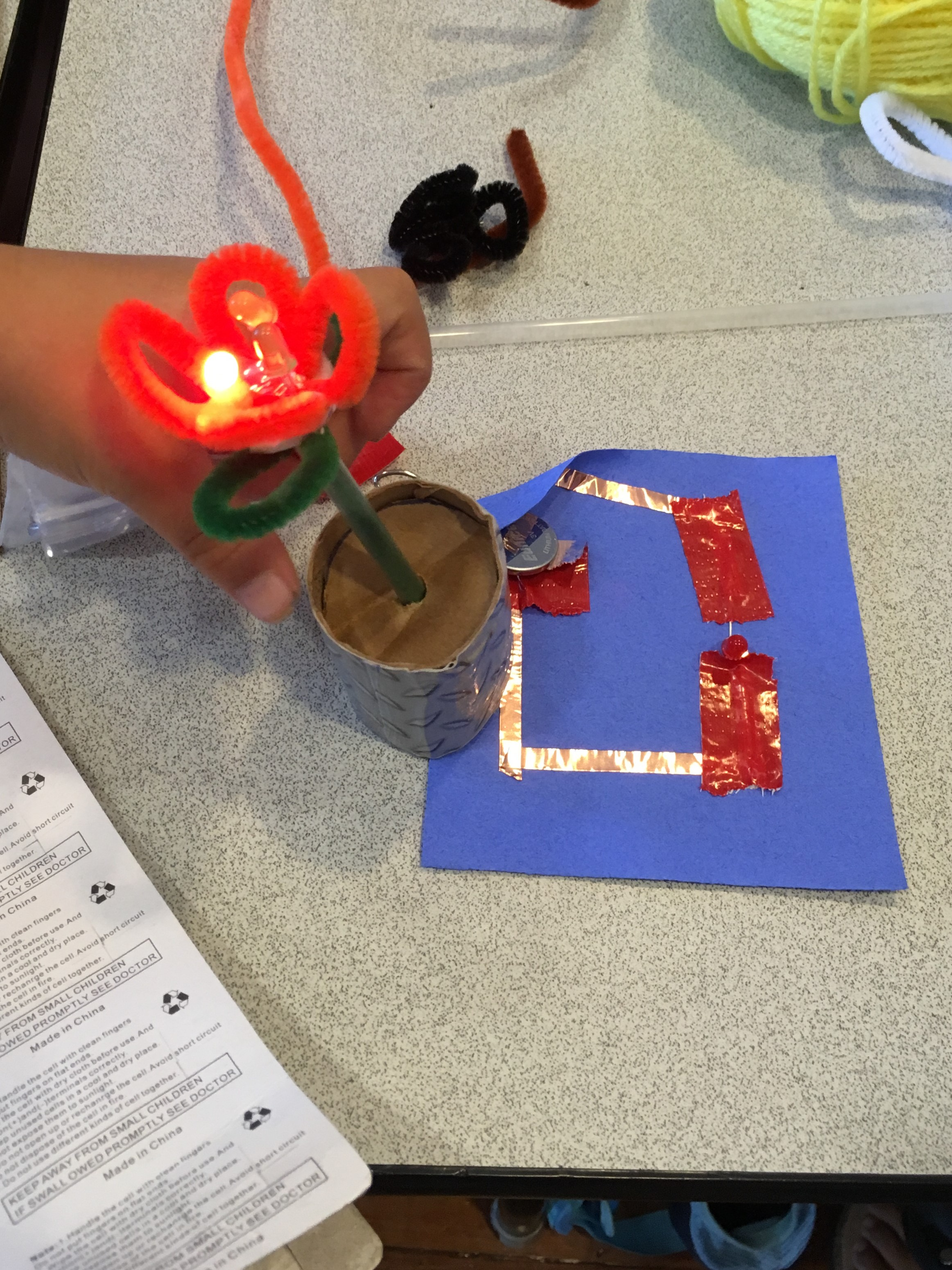Teaching simple circuits with LED light-up flowers