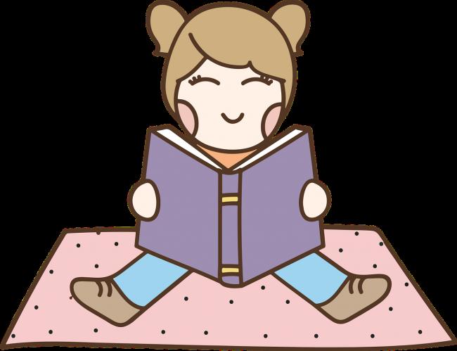 Cartoon of a young girl reading a book