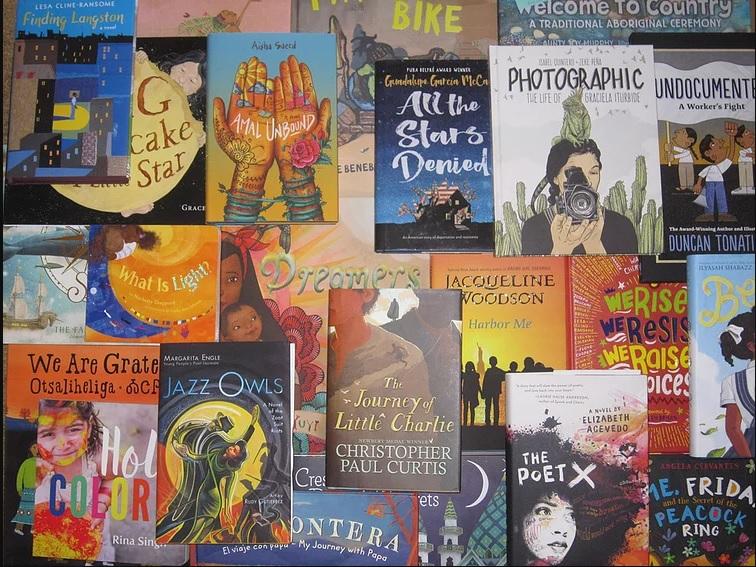 selection of books celebrating diversity