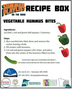 Poster with recipe for vegetable hummus bites