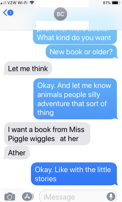 A text message conversation about the type of book a child is looking for