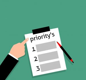 "Picture of a list of priorities with a finger pointing to the word ""priority."""