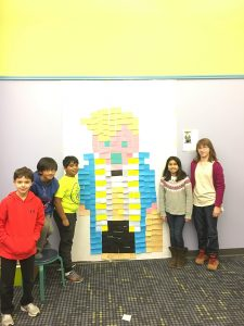 A picture of 5 tween children standing with Newt Scamander in Post-It note form.