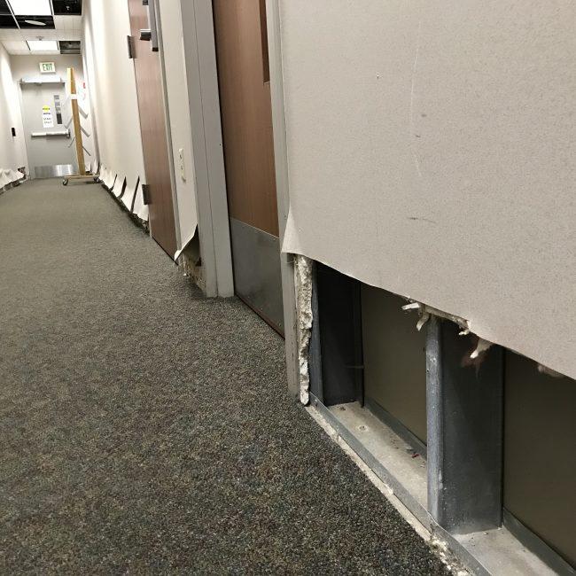 Hallway with drywall cut away