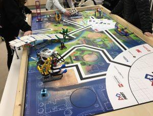 LEGO Mindstorm robot on challenge mat