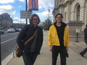 Kyle Cassidy, Photographer, outside the Philadelphia public library with my husband, David.
