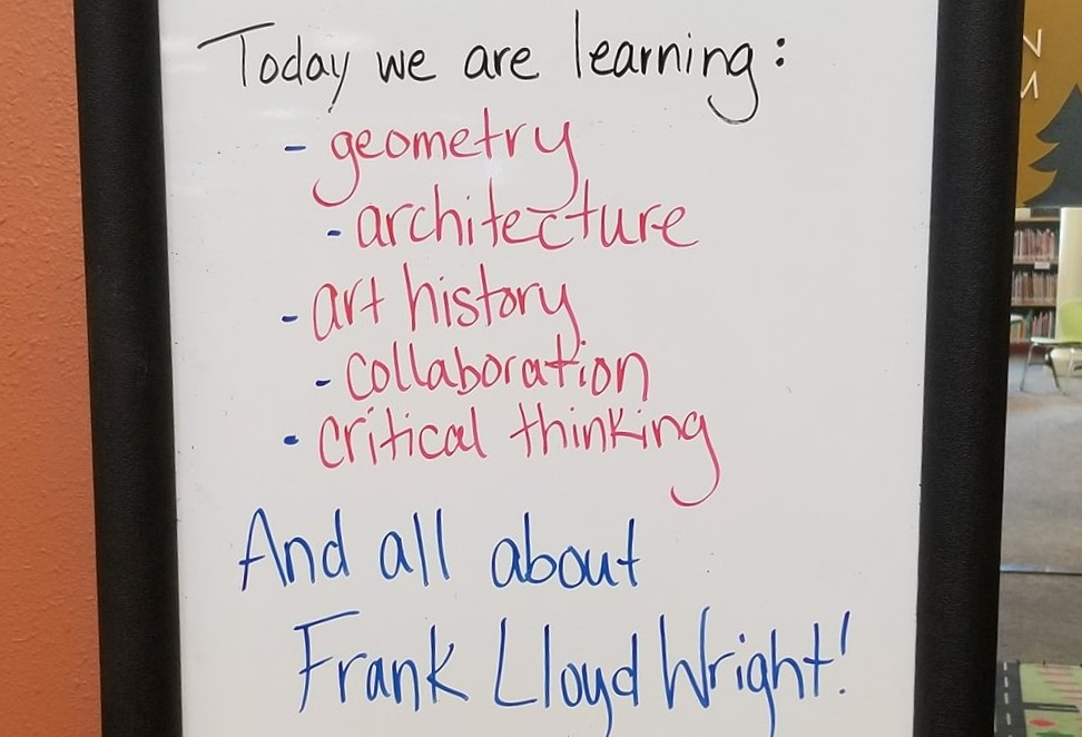 dry erase board with learning outcomes