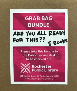 """Grab Bag Bundle Label """"Are you all ready for this?"""" 5 books. Please take this bundle to the public service desk to be checked out."""