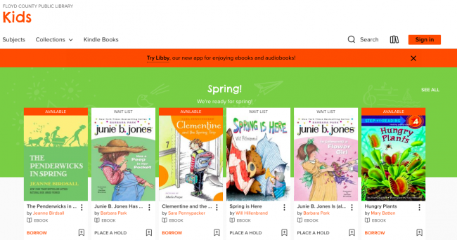 Screenshot of a Libby digital booklist for marketing digital books