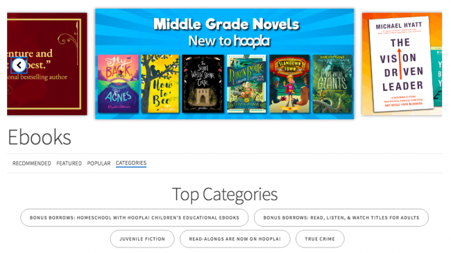 Example of a Hoopla digital booklist screenshot for marketing digital books