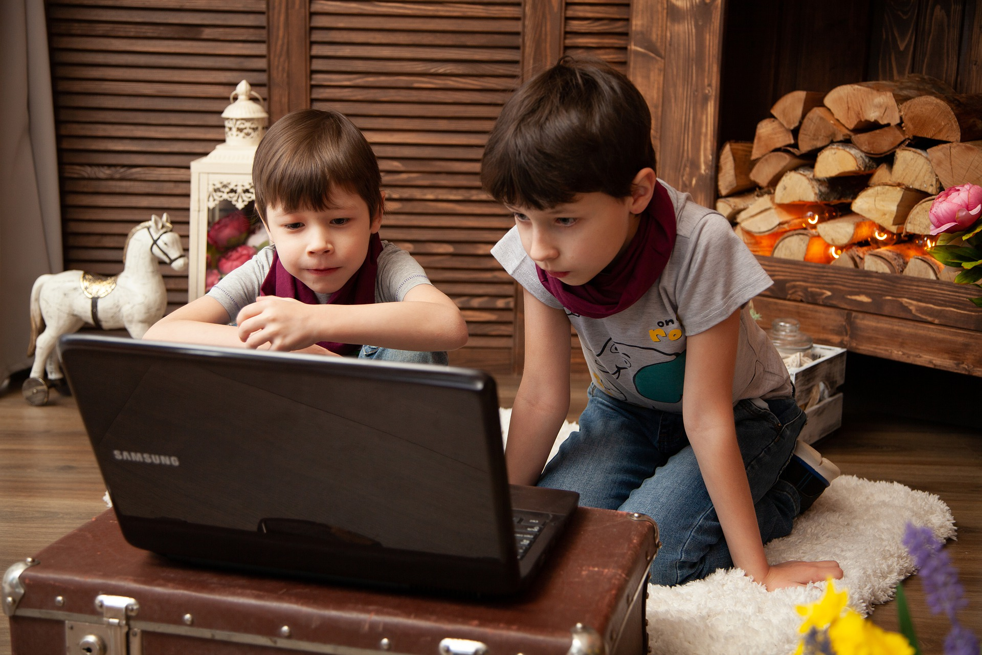Two boys are side-by-side viewing a computer screen together.