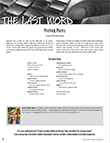 The Last Word: Pitching Poetry