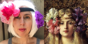 image of woman imitating a painting of a woman