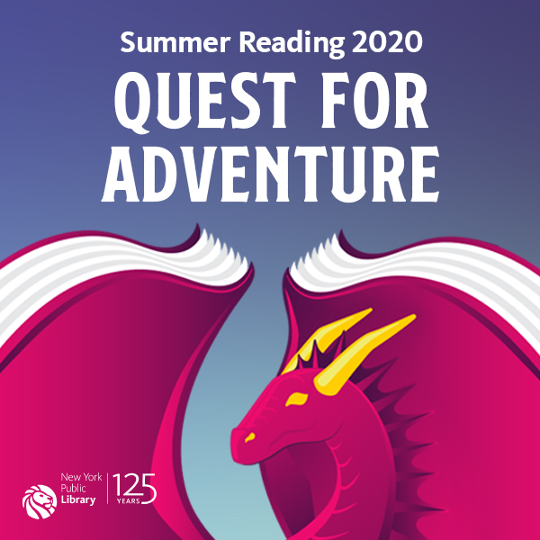 Image of a dragon with books for wings, NYPL Summer Reading 2020