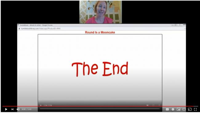 "The last page of an eBook saying 'the end"" fills the image, with a little video window above the eBook page showing the librarian's face."