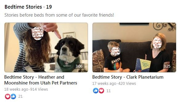 A screenshot of the thumbnails  of two storytimes with guest presenters. One thumbnail shows a dog and their owner, the other an older child and an adult. The adult is holding a picture book.