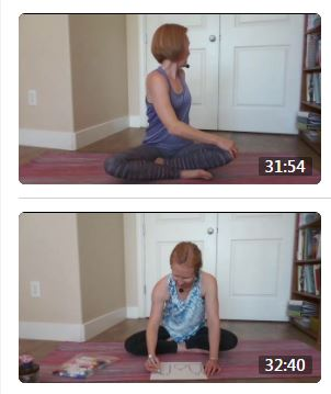 Two screenshots of Yoga Storytime. The top image is of the librarian in a yoga pose. The bottom image shows the librarian sitting criss cross applesauce while writing on a handheld white board.