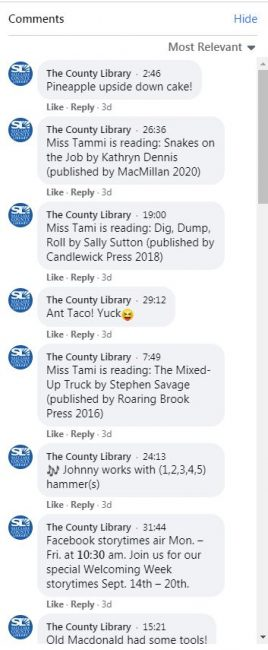 Screenshot of the comments during a Facebook Live Storytime.