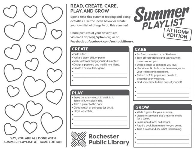 The inside of the tri-fold reading log with heart outlines to color in as activities are completed. Activities are divided in the categories: read, create, care, play, grow.